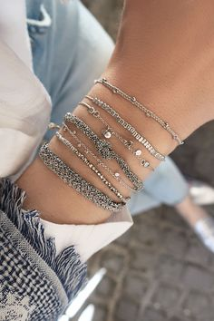 Perfect silver details – we love to mix different textures to create a very unique look ❤ #bracelets #combiNATIONs #silver #love #n1moments
