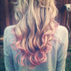 Light pink highlights in blonde hair