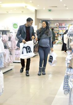 e65513e7fcafc Pregnant Rochelle and Marvin Humes shopping in Mothercare Brent Cross