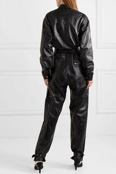 Black Barbara belted leather jumpsuit | Dodo Bar Or | NET-A-PORTER Leather Catsuit, Leather Jumpsuit, Black Jumpsuit, Leather Pants, Cheap Pants, Black And Brown, Pants For Women, Menswear, Long Sleeve