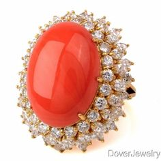 Vintage-Diamond-25-15ct-Coral-18K-Gold-Cluster-Cocktail-Ring-14-6-Grams-NR Coral Ring, Sea Pearls, Vintage Diamond, Cocktail Rings, Antique Jewelry, 18k Gold, Cocktails, Stone, Schmuck