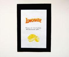"Linoldruck ""Wenn dir das Leben Zitronen gibt"" auf DaWanda.com"