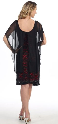 Black Lace Overlay Red Dress Knee Length With Sheer Sleeve Top (3 Colors Available)
