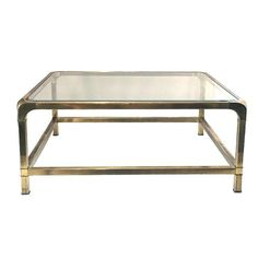 Image Of Vintage Brass U0026 Glass Coffee Table