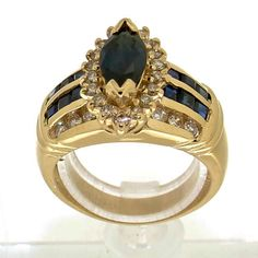 Gorgeous ring in yellow gold set with brilliant cut diamonds & sapphire Vintage Silver Rings, Vintage Jewelry, Golden Ring, Silver Engagement Rings, Marquise Cut, Gold Set, Ring Designs, Sapphire, Collection