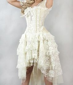 "Cream Lace Dress /Gothic/Steampunk/Wedding/Fancy Dress/Victorian/ All Sizes[34"" Approx UK size 20-22]"