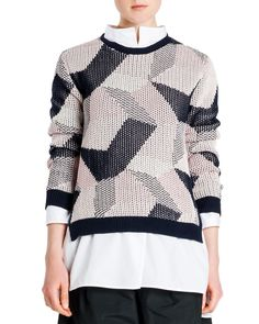 Jil Sander Abstract Intarsia Knit Sweater and One-Pocket Poplin Blouse