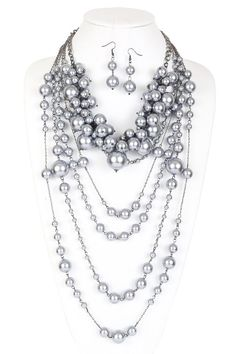 Amelia Multi-Functional Simulated Pearl Statement Necklace and Earrings Set