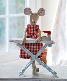 Maileg Rat  ironing board (getting ready to iron out wrinkles in the fabric she will use for a marvelous creation)