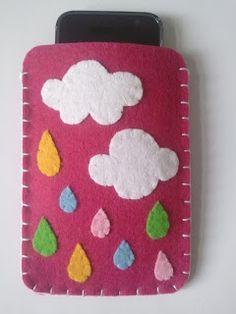 by lu loves handmade, keçe elişi, kids crafts, e Felt Diy, Handmade Felt, Felt Crafts, Kids Crafts, Diy And Crafts, Felt Phone Cover, Diy Phone Case, Felt Case, Felt Pouch