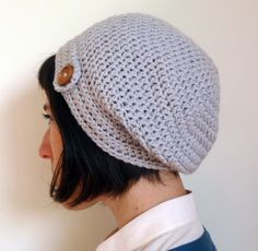 Slouchy Beanie - crochet with button detail. Pure wool, custom colours. | Felt