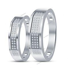 Bride & Groom 925 Silver 0.32 Ct Round Diamond Wedding Couple Band Ring Jewelry #tvsjewelery #WeddingAnniversaryEngagement