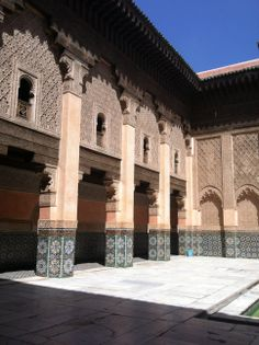 Courtyard at The Ben Youssef Madrasa, located to the north of the Medina, was an Islamic college in Marrakesh named after the Almoravid sultan Ali ibn Yusuf (1106–1142)