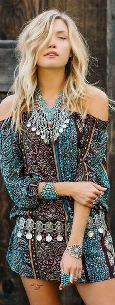 #boho #fashion #spring #outfitideas |American Hippie off the shoulder dress + jewelry style                                                                             Source