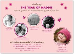 baby girl first birthday photo invitations | 10 1st Birthday Party Invitations For Girls