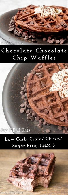 Chocolate for breakfast always feels like an over the top indulgence. But with this recipe for Chocolate Chocolate Chip Waffles feel free to indulge as much as you like. via @joyfilledeats