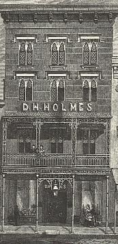 """D. H. Holmes first opened the doors to its Canal Street store in 1842.  It became a favorite place to shop; its restaurant, a favorite place to have lunch; its Christmas display a must-see during the holidays...and the clock which hung over its entrance, a favorite place for friends to arrange a meeting.  All you had to say was""""I'll meet you under the clock"""" and everyone knew what you meant.  The store closed in 1989. (Sketch done in 1873)"""