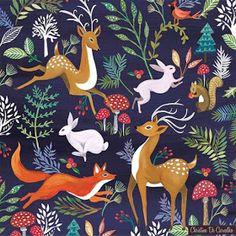 print & pattern: CARD DESIGN - victoria johnson for paperchase Illustration Inspiration, Deer Illustration, Christmas Illustration Design, Folk Art Flowers, Flower Art, Samhain, Pattern Art, Print Patterns, Tissu Michael Miller