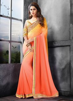 Lovable Fancy Fabric Peach Embroidered Work Saree