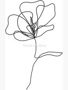 'line drawing flower' Sticker by Nicole Meilleur Line Art Flowers, Flower Line Drawings, Line Flower, Flower Art, Butterfly Line Art, Outline Art, Flower Outline, Outline Drawings, Diy Embroidery Flowers