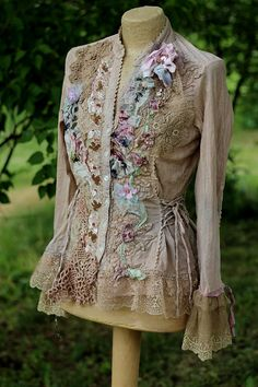 Morning garden jacket romantic bohemian altered by FleursBoheme