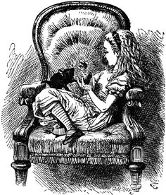 Alice and the Kitten from the opening to Through The Looking-Glass. The first visual memory of the book I have.  http://www.alice-in-wonderland.net/alicepic/through-the-looking-glass/2book2.jpg
