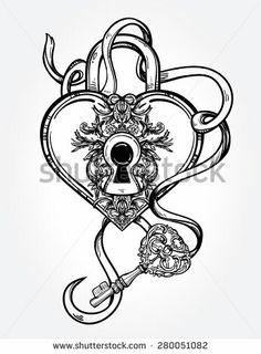 The Key To Heart Shaped Padlock In Vintage Engraved Style With Elegant Line Art Tattoo Template