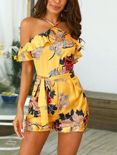 Shop Floral Print Cold Shoulder Belted Romper – Discover sexy women fashion at BoutiquefeelFloral Print Mesh Cutout Back Pleated PlaysuitDot With Striped Print Splicing RomperStyle:Fashion Pattern Type:Floral Polyester Neckline:Cold Shoulder Sleeve Styl Floral Playsuit, Boho Romper, Ruffle Romper, Floral Jumpsuit, Summer Outfits, Cute Outfits, Short Jumpsuit, Jumpsuit Shorts, Vetement Fashion