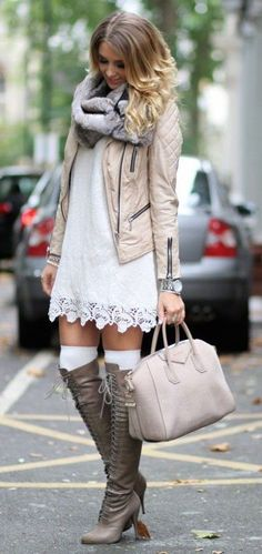 #fall #fashion / boots + crochet dress