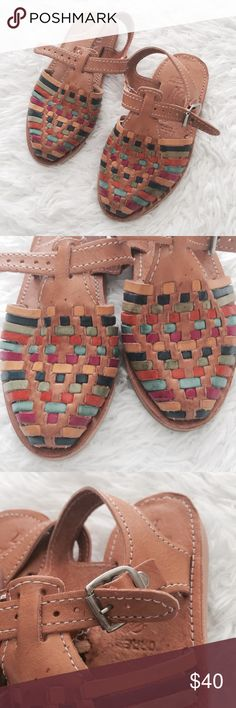 NWOT Kids Genuine Leather Mexican Huaraches Baby/Toddler girls. Authentic, handmade in Mexico. Super cute! Rainbow weave & ankle buckle strap. Strap is adjustable.   •USE OFFER FEATURE TO NEGOTIATE  •BUNDLE TO SAVE  •NO OUTSIDE TRANSACTIONS •NO TRADES Shoes Sandals & Flip Flops