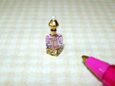 Miniature TINY Perfume Bottle/Crystal Base, LIGHT AMETHYST: DOLLHOUSE 1/12 Scale Mini Makeup, Miniature Bottles, Light Amethyst, Gold Top, Faeries, Swarovski Crystals, Scale, Perfume Bottles, Miniatures