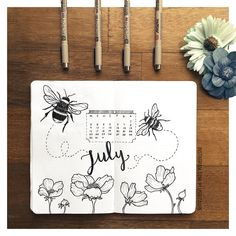 July Cover for Bullet Journal: bees and flowers