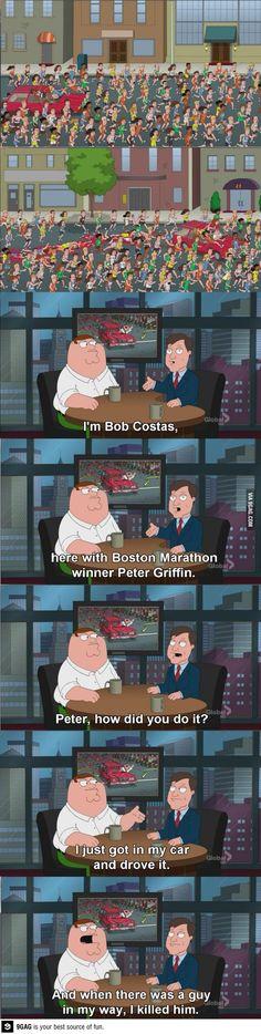 Peter Griffin won the Boston Marathon