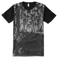 Shop black and white forest drawing All-Over-Print T-Shirt created by ZierNorShirt. Personalize it with photos & text or purchase as is! Black White Art, Black And White Drawing, S Shirt, Sweater Shirt, Shirt Drawing, Drawing Art, Forest Drawing, Types Of T Shirts, Stylish Shirts