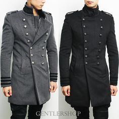 Mens Military China Collar Double Breasted Button Officer Peacoat, GENTLERSHOP