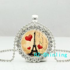 New Promotion Eiffel Tower Necklace Paris Love France Travel Crystal Pendant Glass Photo Jewelry Ball Chains Necklaces  #Affiliate