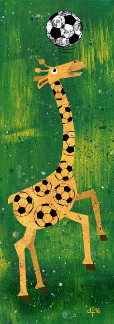 Giraffantastic Football! +++ illustration by Daniela Faber 2016 +++ giraffe football soccer animal Africa playing match euro 2016 em children's kidlitart