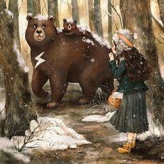 곰을 만나다 (풀 버전은 http://grafolio.com/illustration/118949에서 보실 수 있어요!) #illust #illustration #sketch #drawing #girl #girlish #bear #winter #snow #tree #winterillustration #sleet #일러스트 #일러스트레이션 #겨울 #소녀감성