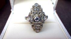 Art Deco 14k Filigree Mine Cut Diamond Engagement Ring - Cocktail Ring - Dinner Ring - Cluster Ring, 17 Diamonds .40 carats