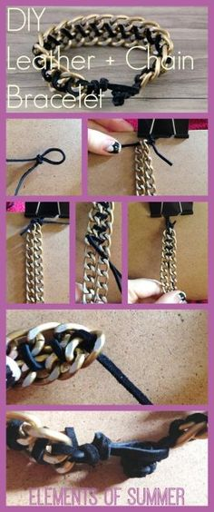 DIY Leather + Chain Bracelet tutorial | Elements of Summer by Ana9