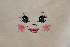 Visage figure  tête  de poupée  poupon pour création textile