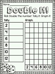"""""""Double It!"""" math center to practice DOUBLES! Also great graphing practice. Great game for practicing math facts! Math Classroom, Kindergarten Math, Teaching Math, Teaching Ideas, Teaching Strategies, Classroom Ideas, 1st Grade Math, First Grade, Grade 1"""