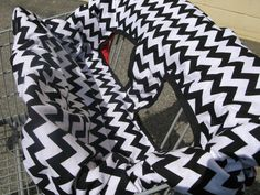 Handmade Baby Shopping Cart Cover REVERSIBLE Black by ScrappyMisty, $50.00