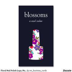 Floral Nail Polish Logo, Nail Salon, Manicurist Standard Business Card