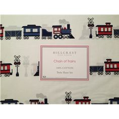 Hillcrest Chain of Trains 100% Cotton Sheet Set are finally back in stock!  Limited availability - don't miss out on them!  Sooo Cute!!!