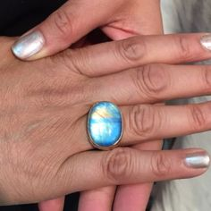 #tbt saw this rainbow moonstone, blue beauty in NYC this past August on a woman who wears it everyday #JJPowerRing #handmade #everydayjewelry