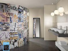 Street Art graffiti bathroom tile from Beaumont Tiles Tile Art, Wall Tiles, Decor Interior Design, Interior Decorating, Beaumont Tiles, Artistic Tile, Tile Stores, Room Shelves, Glass Shelves