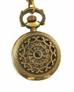 "Steampunk Pendant Watch -Vintage Style Antique Bronze Copper Tone Metal with Filigree Lid 1"" with 28"" Chain ABC-time. $12.99"