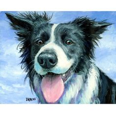 Border Collie Dog Art Print of Original Painting by DottieDracos