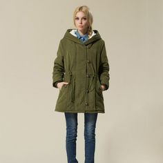 (37.69$)  Know more  - Plus Size Women Clothing Winter Parkas Drawstring Lamb Wool Hooded Jacket Coat Female Army Green Berber Fleece Warm Outerwear